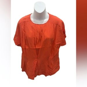 Reiss Orange Short Sleeve Silk Blouse